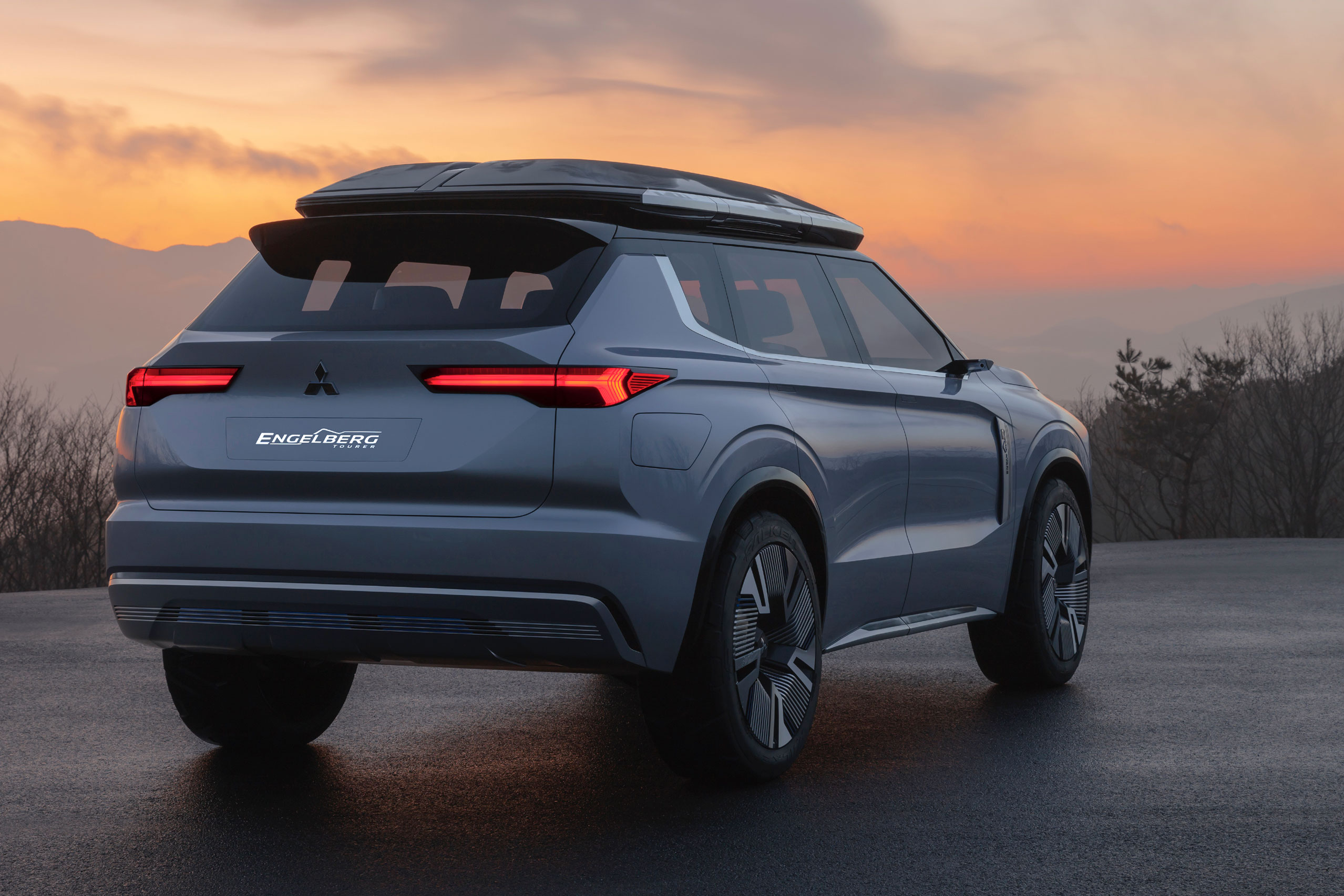 Mitsubishi Engleberg Tourer concept hybrid SUV tail lights at sunset