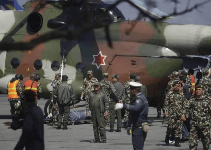 First responders at work in Kathmandu