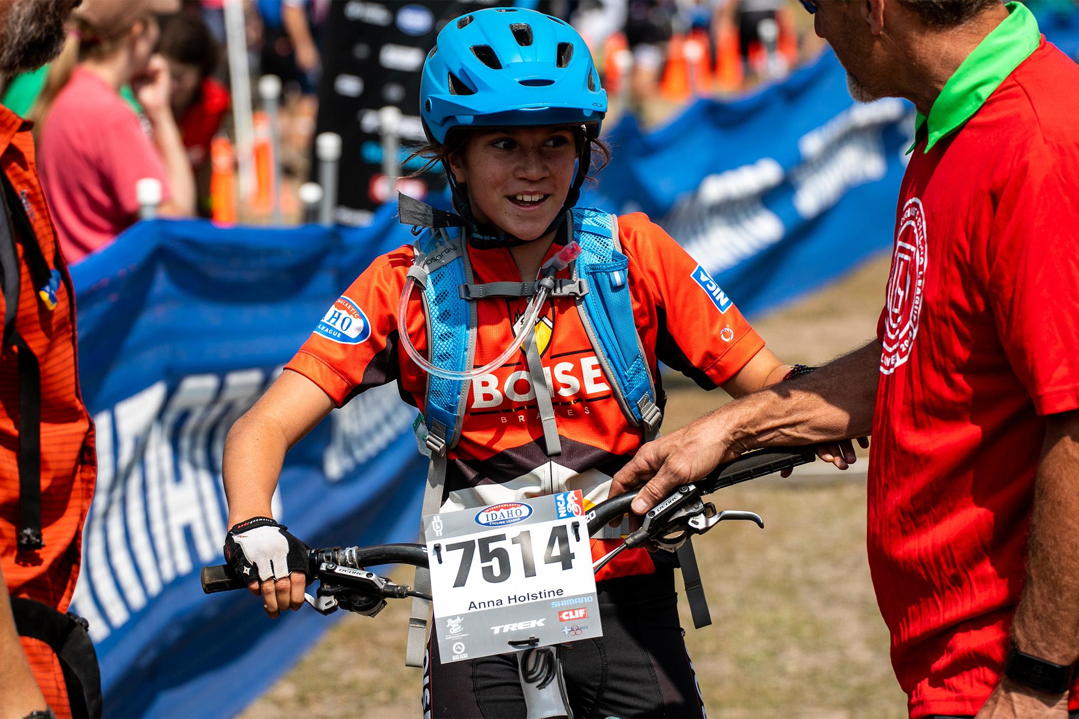 Happy high-school cyclist Anna Holstine