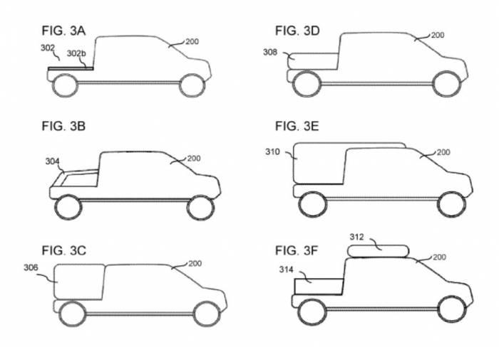 Rivian modular truck bed patent