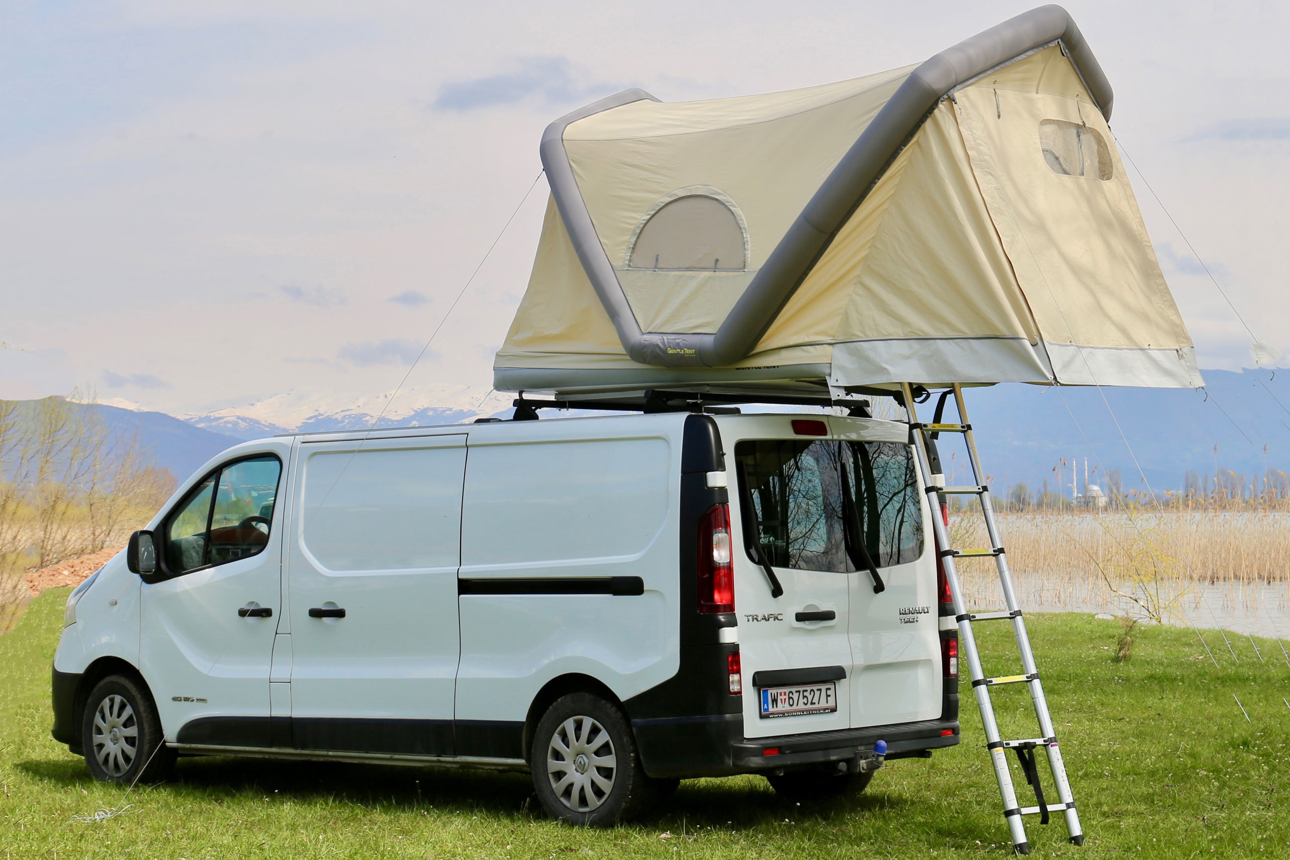 GentleTent inflatable rooftop tent on van