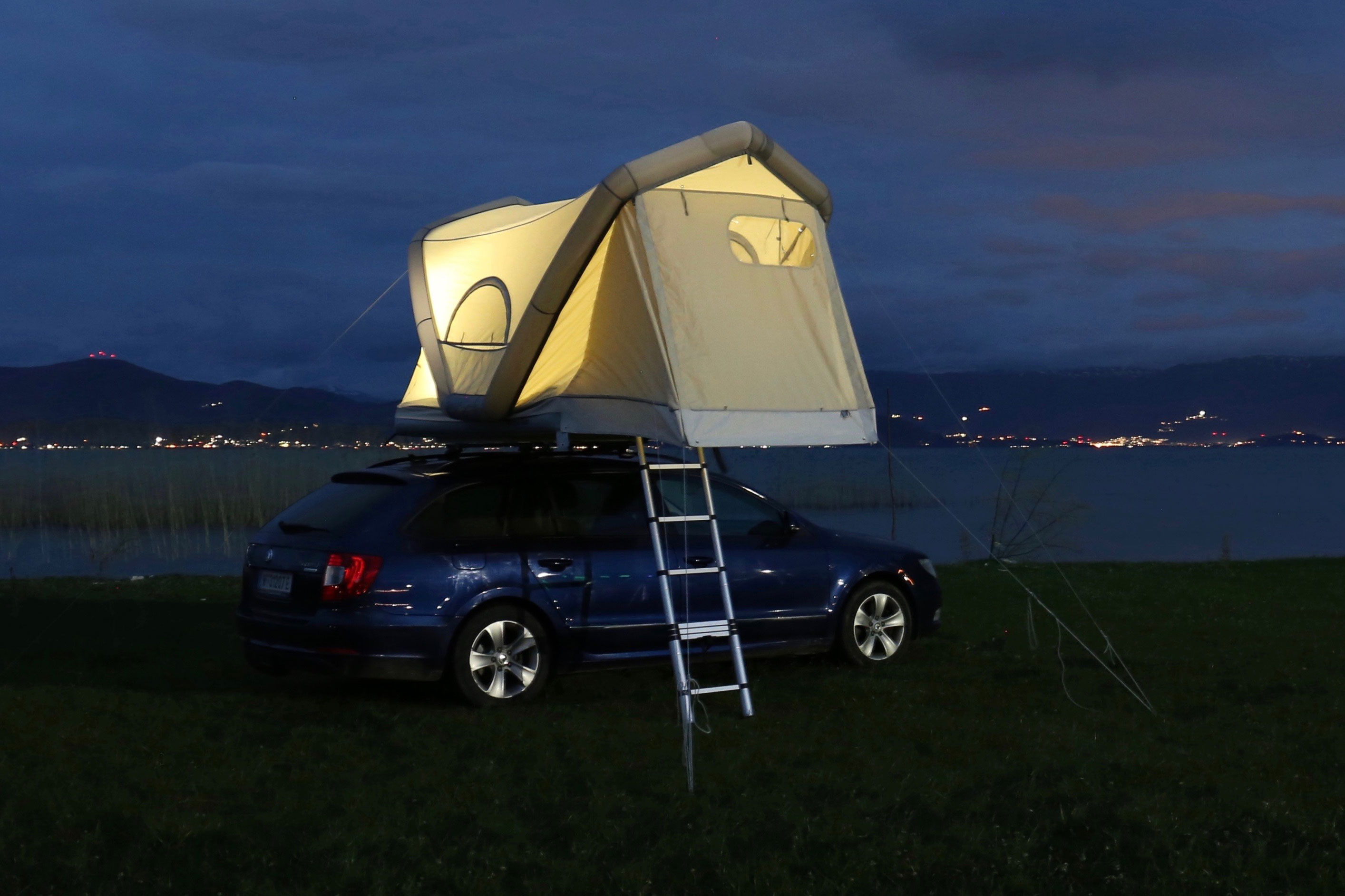 GentleTent inflatable rooftop tent on car