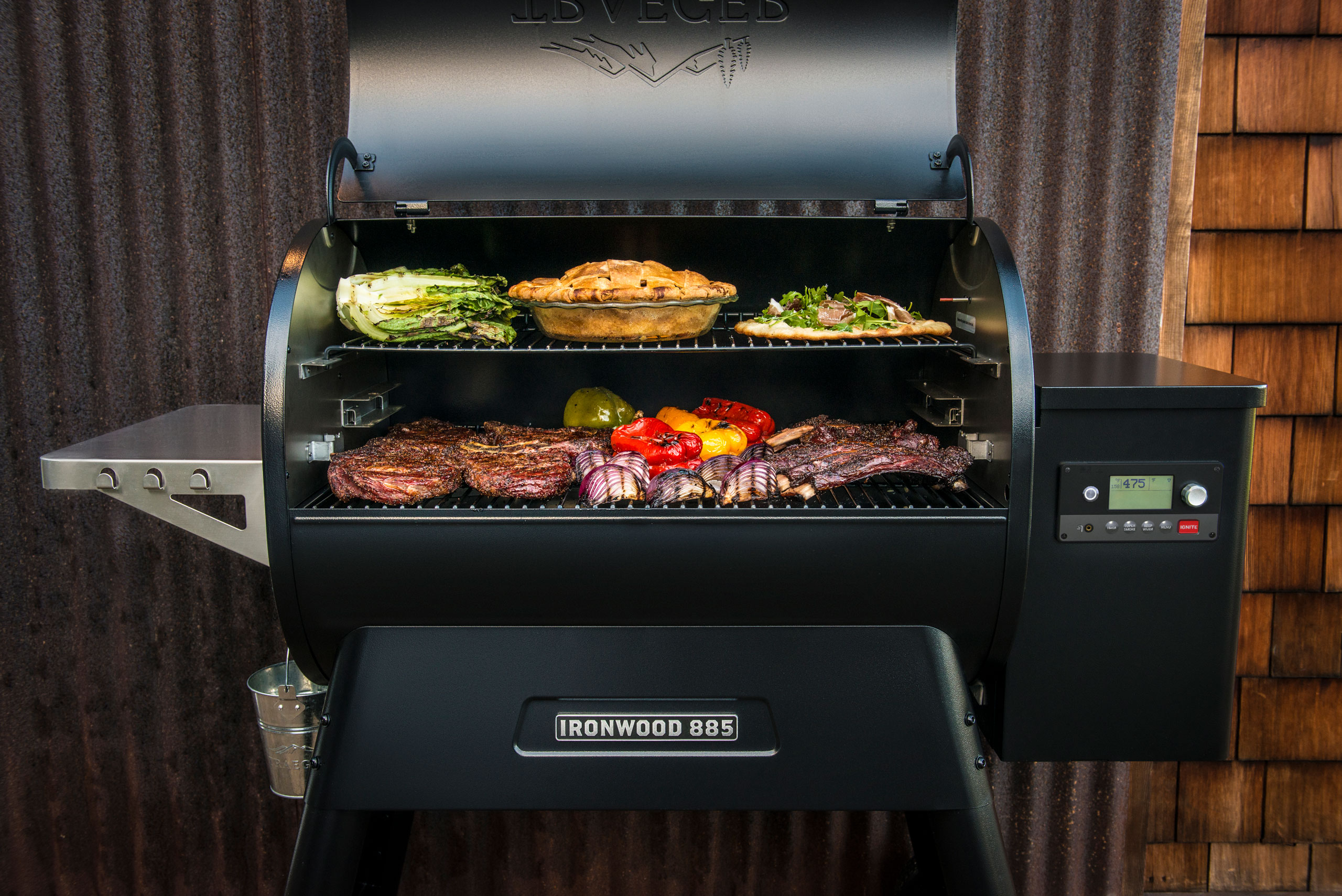 Traeger Ironwood 885 pellet grill with food