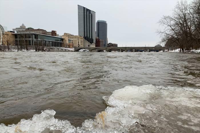 The Grand River, partially frozen