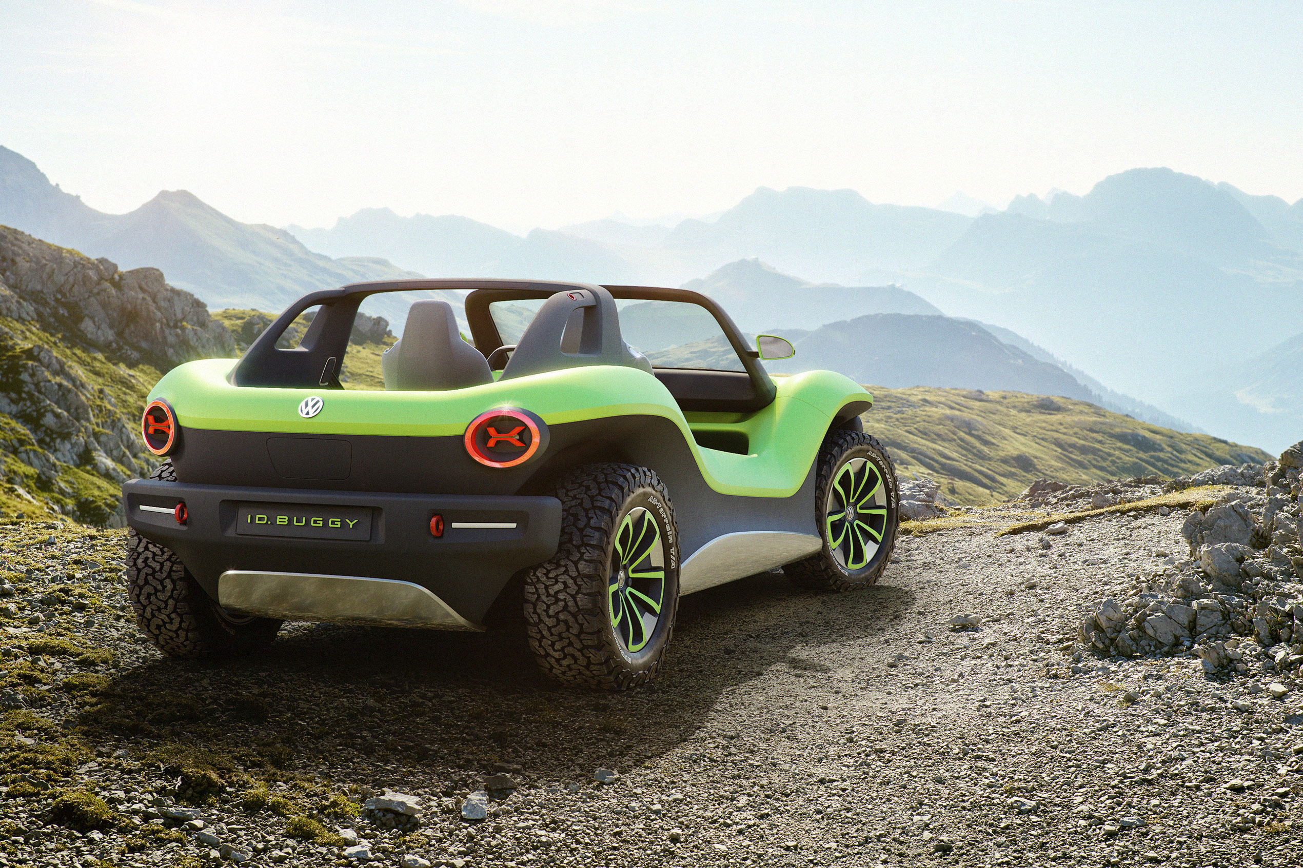 VW Dune Buggy outside rear green