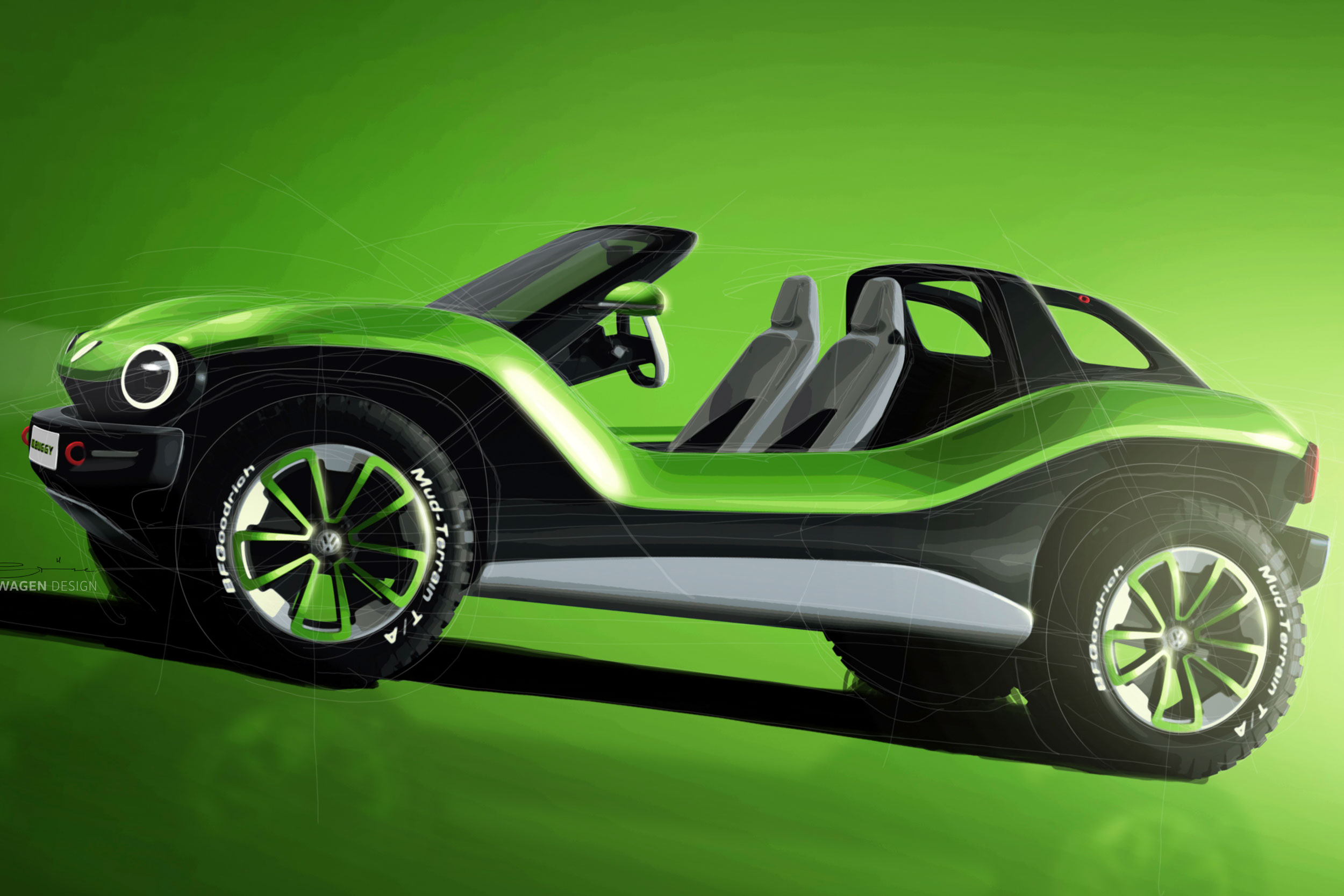 VW Dune Buggy side profile green