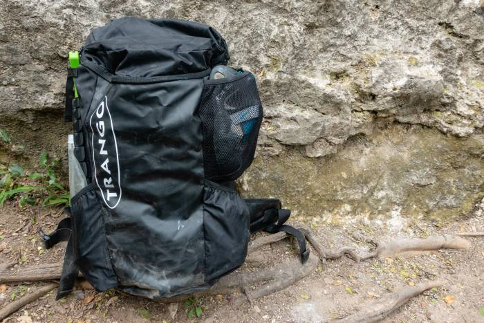 Trango Crag Pack 2.0 on rock