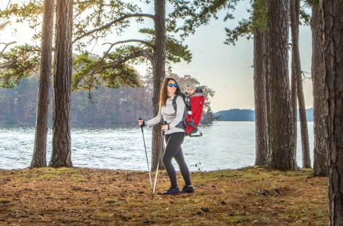 Mallory Paige testing the Phil & Ted Baby Carrier hiking in Georgia.