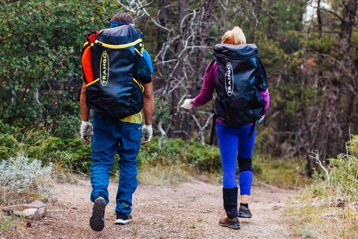 Two people, each carrying the Trango Crag Pack 2.0