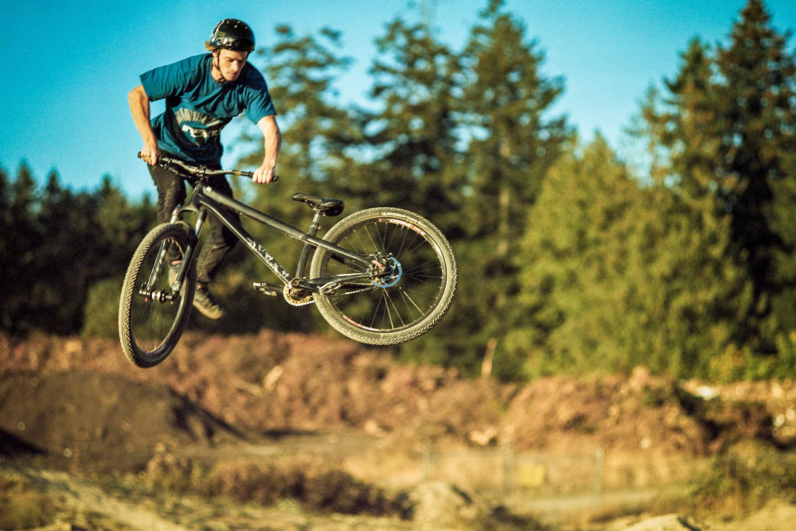 Mark Matthews on a mountain bike at North Saanich Freeride Park