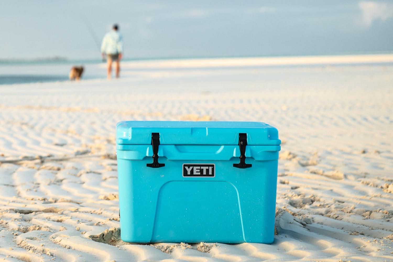YETI Tundra Cooler Reef Blue On Beach