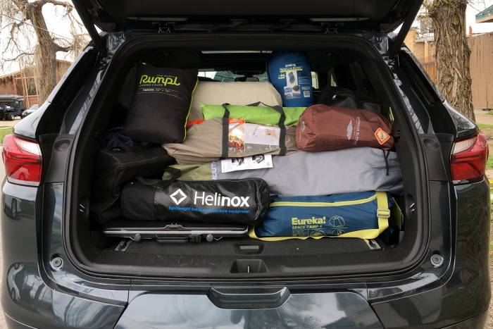 Chevy Blazer packed with camp gear