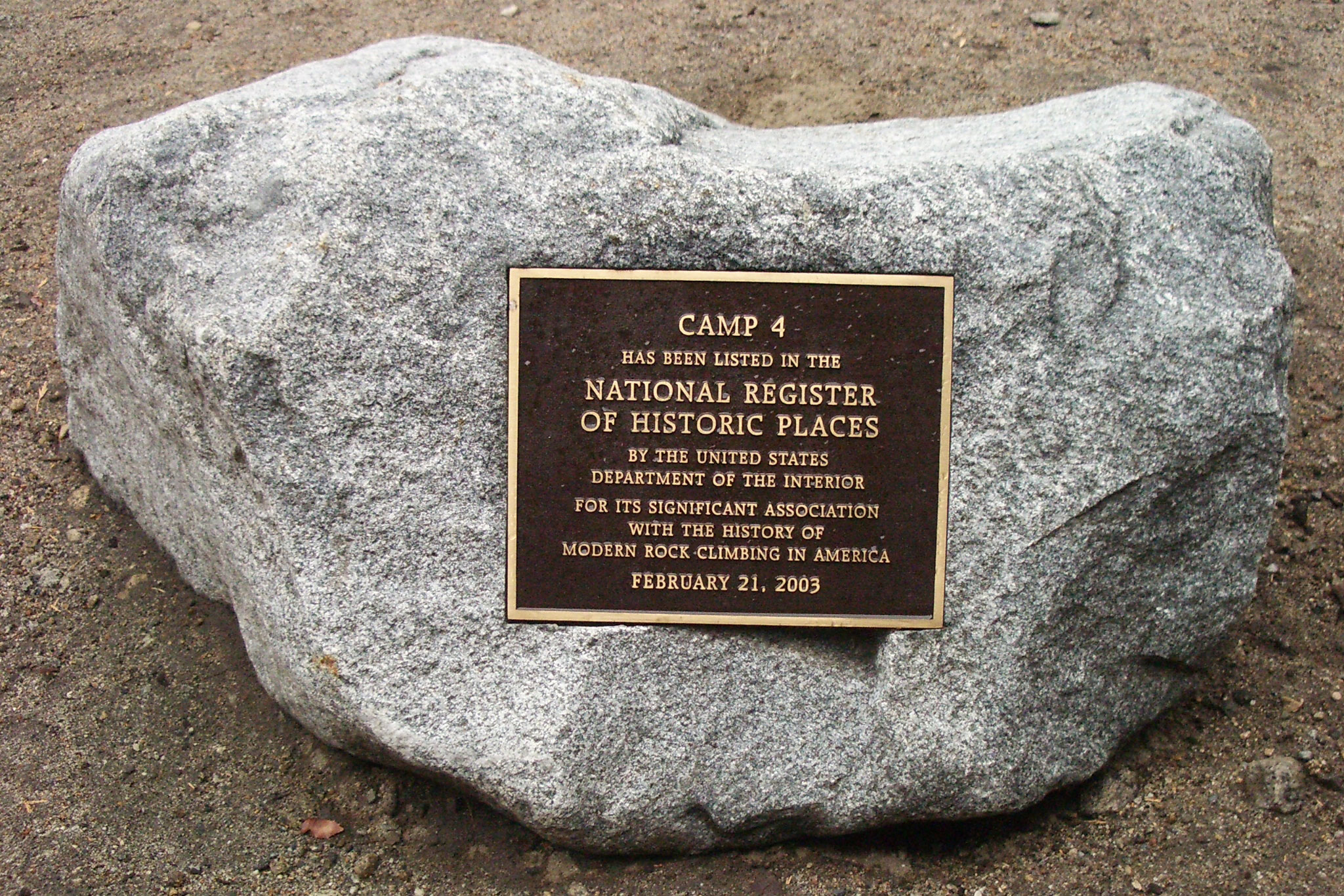 Camp 4 Yosemite National Park Historic Register plaque
