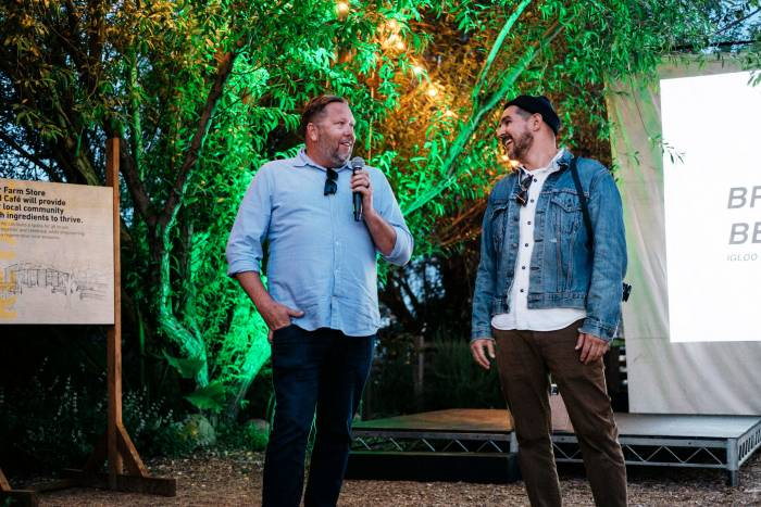 Brad Blankinship and Ben Soto speak at Igloo RECOOL biodegradable cooler event