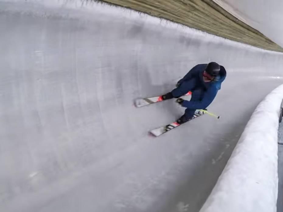 skier down bobsleigh track