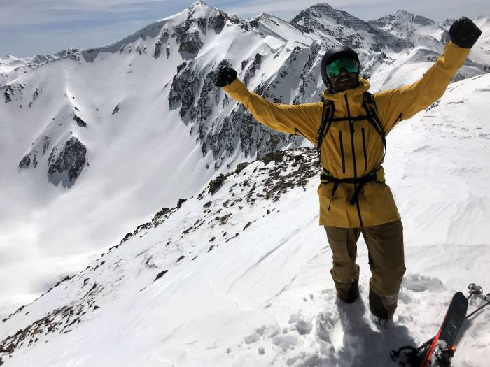 Skier wearing The North Face FUTURELIGHT fabric on a snowy mountain