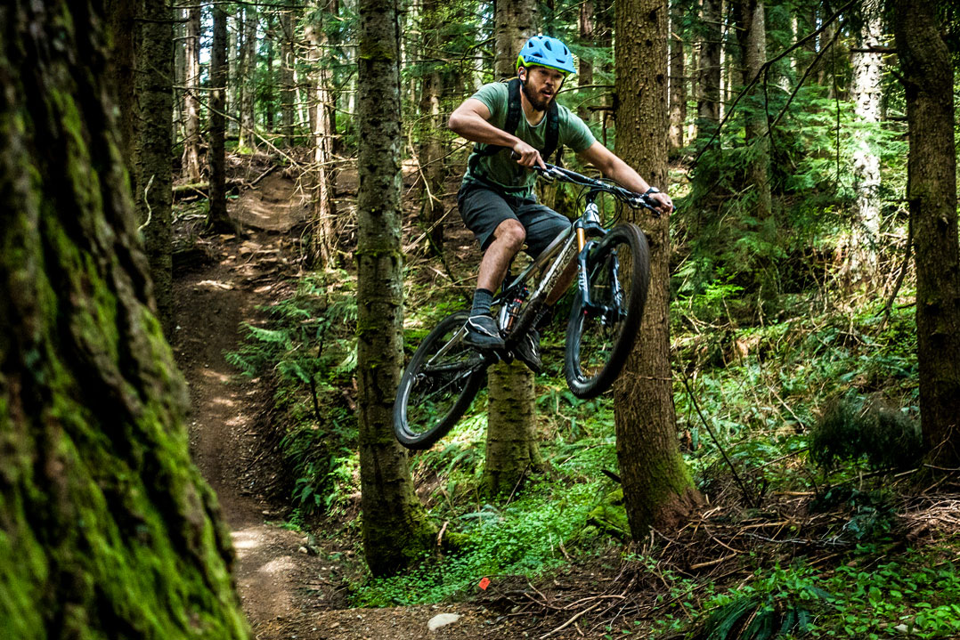 Mountain biker on Washington's Tiger Mountain Trail
