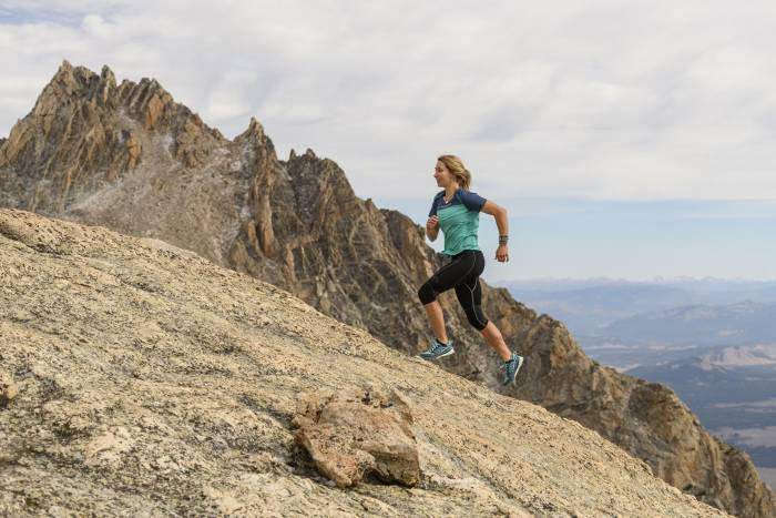 Woman trail running in La Sportiva Kaptiva Shoes