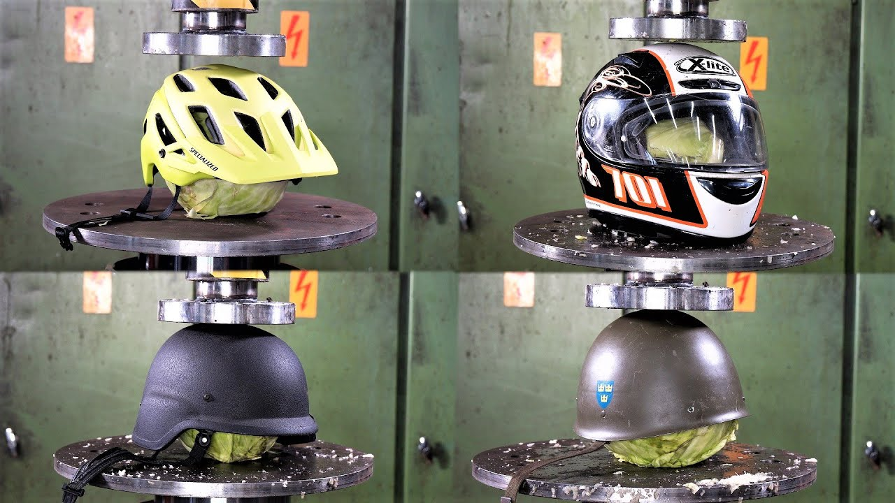 Bike Helmets Crushed: Hydraulic Press Smashes Cycling, Moto, and Medieval Lids | GearJunkie