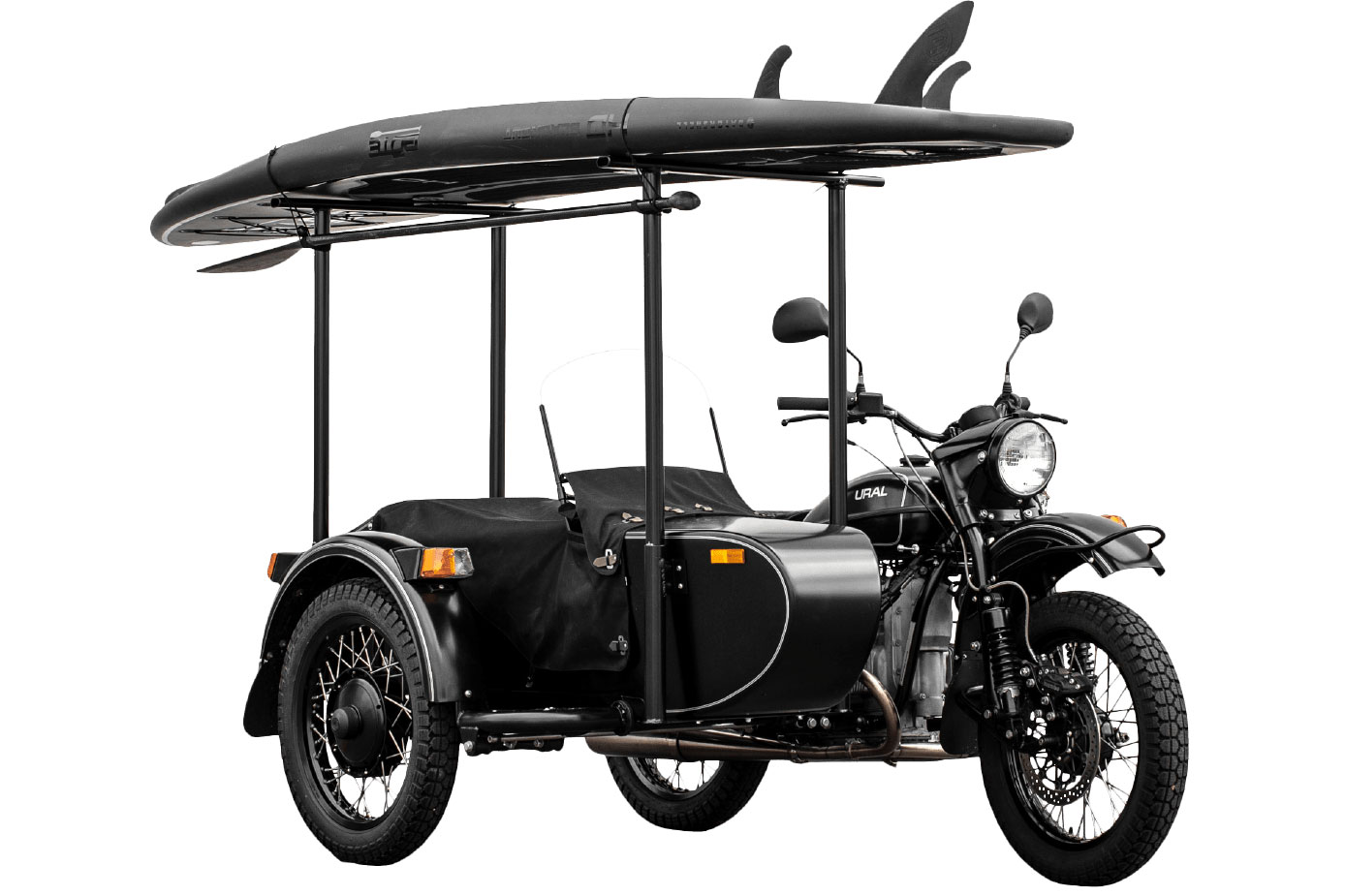 Ural Tourist sidecar motorcycle with BOTE SUP