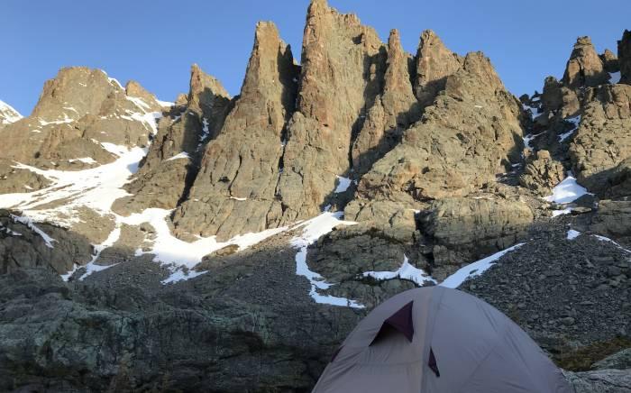 sky pond camping rocky mountain