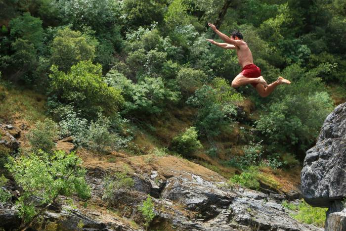 Patagonia Baggies Cliff Jumping