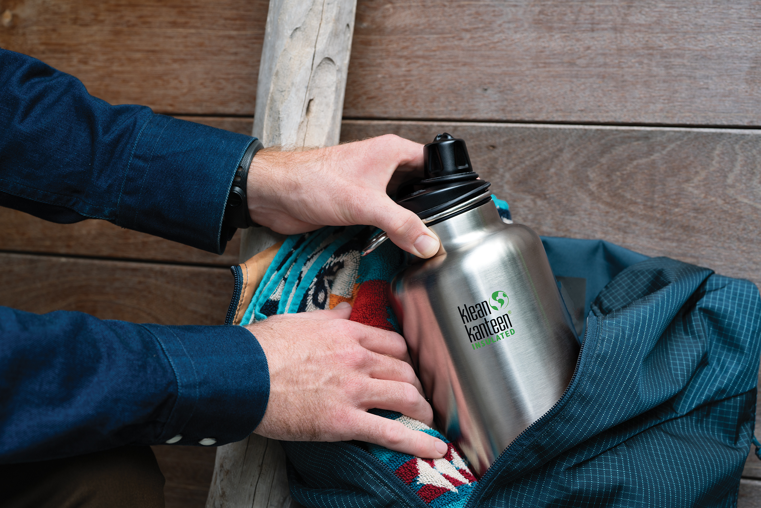 Klean Kanteen TKWide Chug-Cap-Out-of-Duffle-Closeup