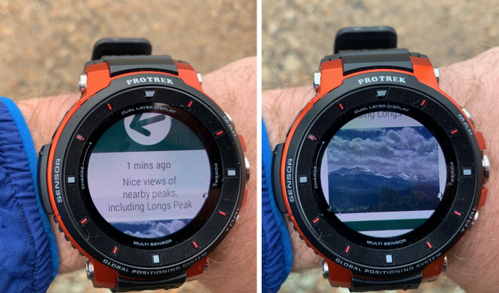 ViewRanger app on Casio Smart Watch shows Longs Peak