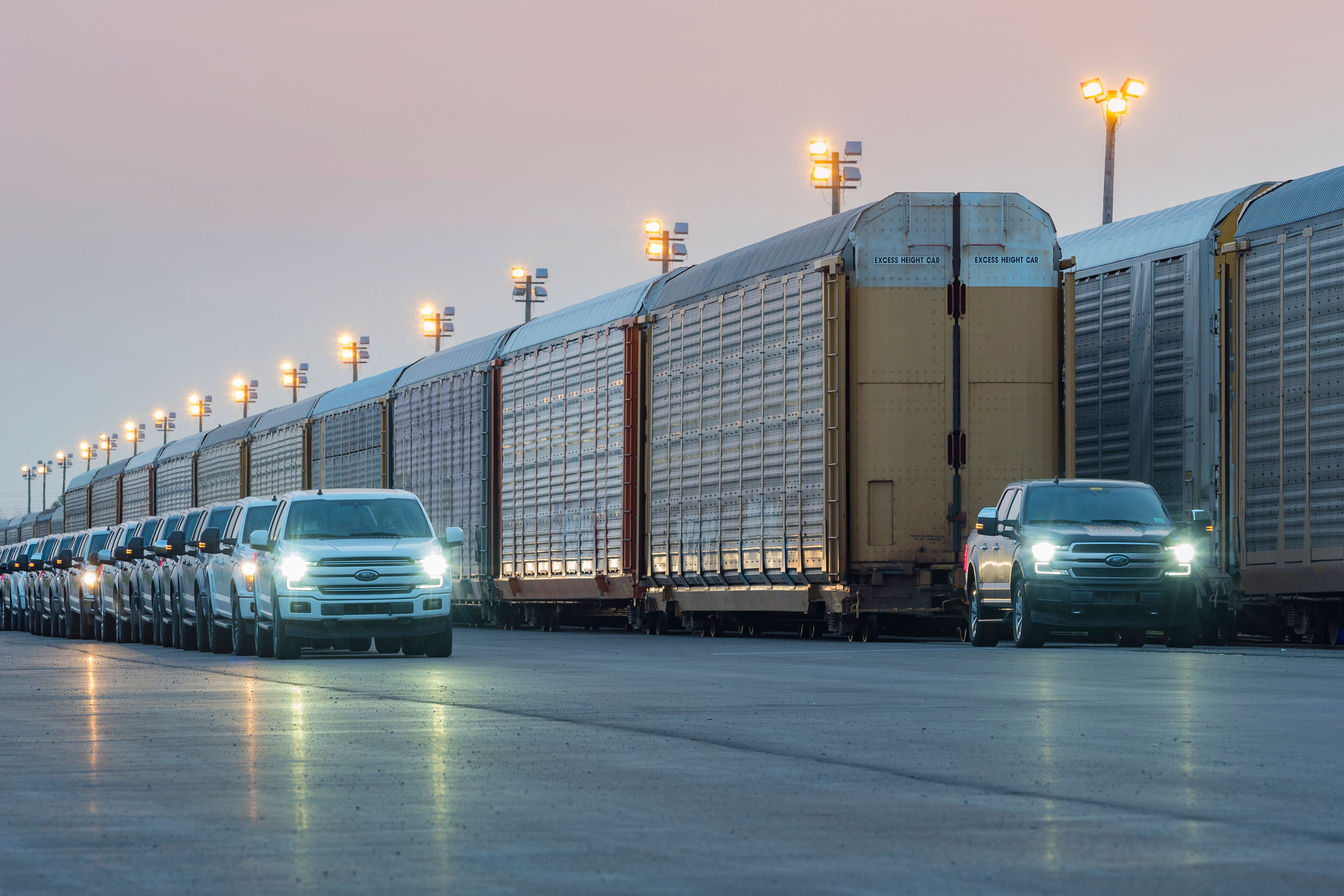 Electric Ford-F150 prototype pulls train