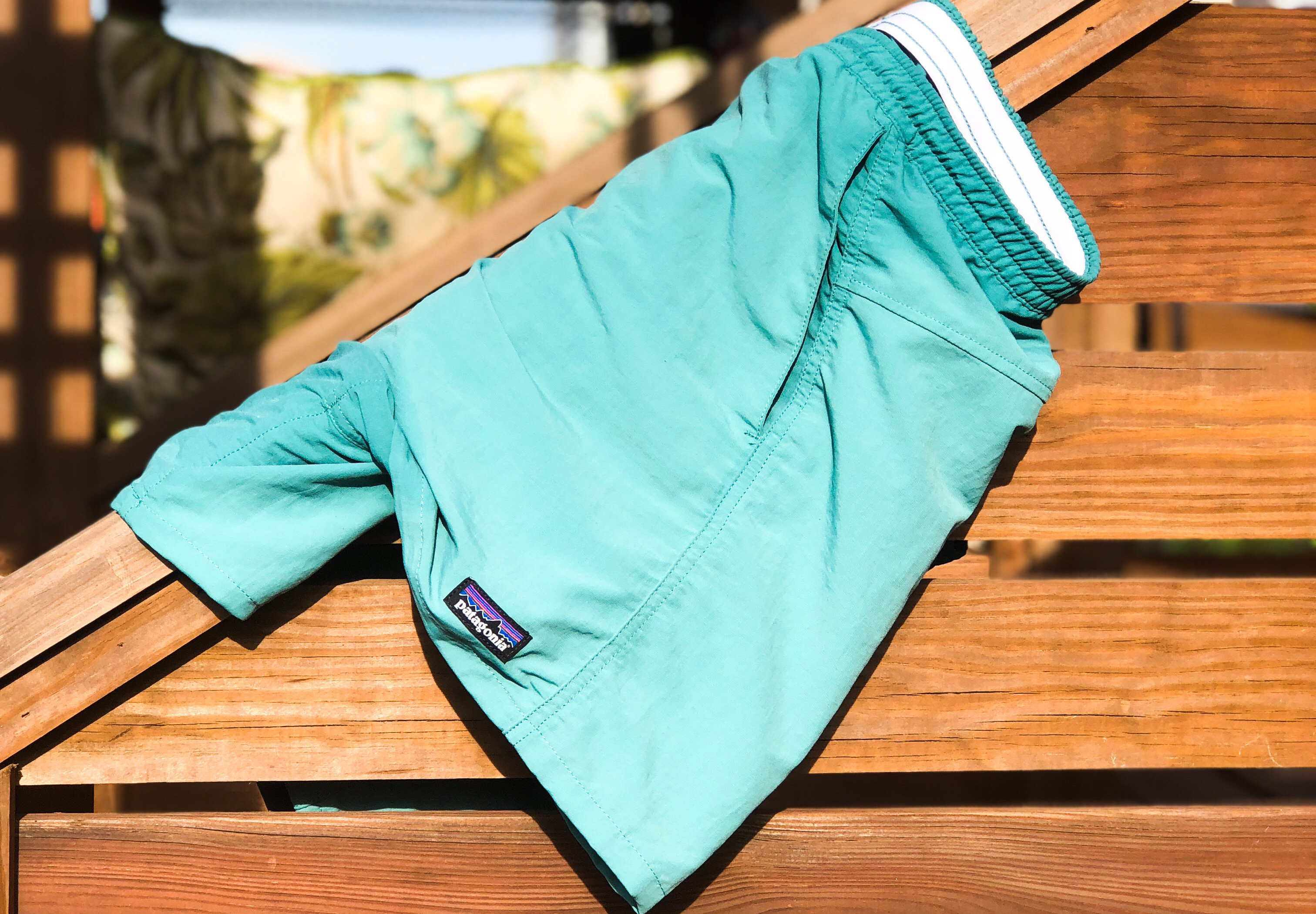 Patagonia Baggies on Railing