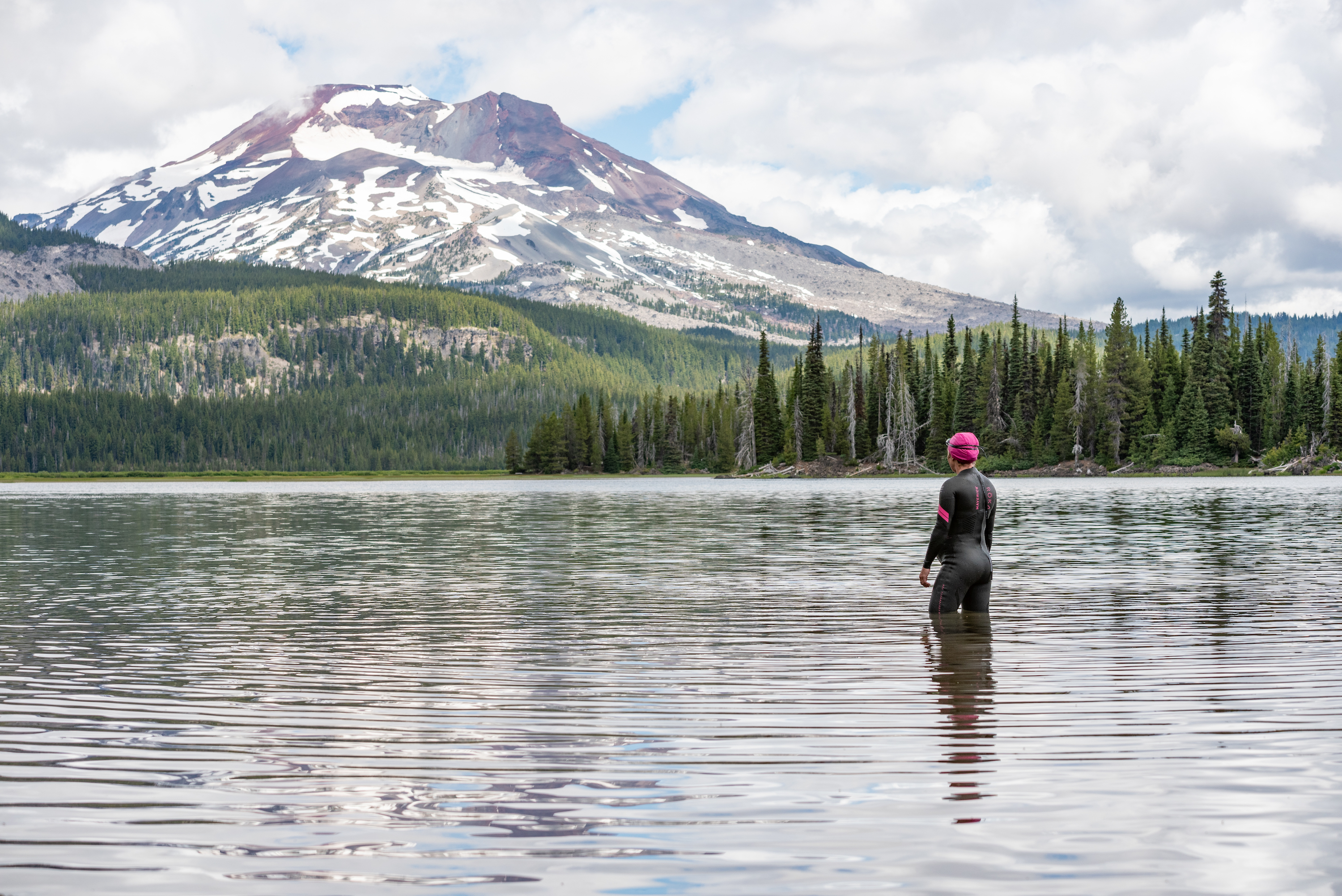 Woman Open Water Swimming near Bend, Oregon