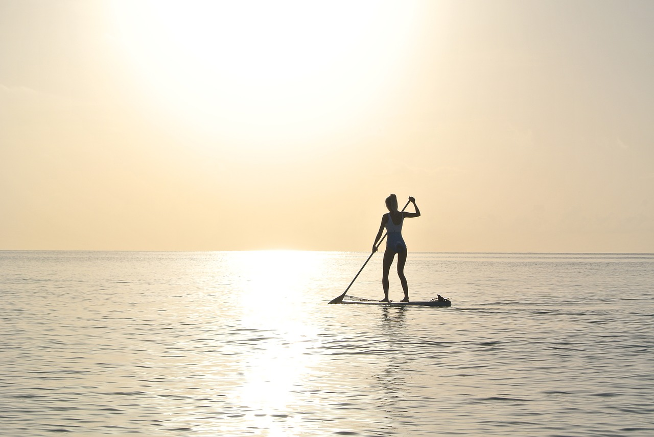 paddleboard sunrise water