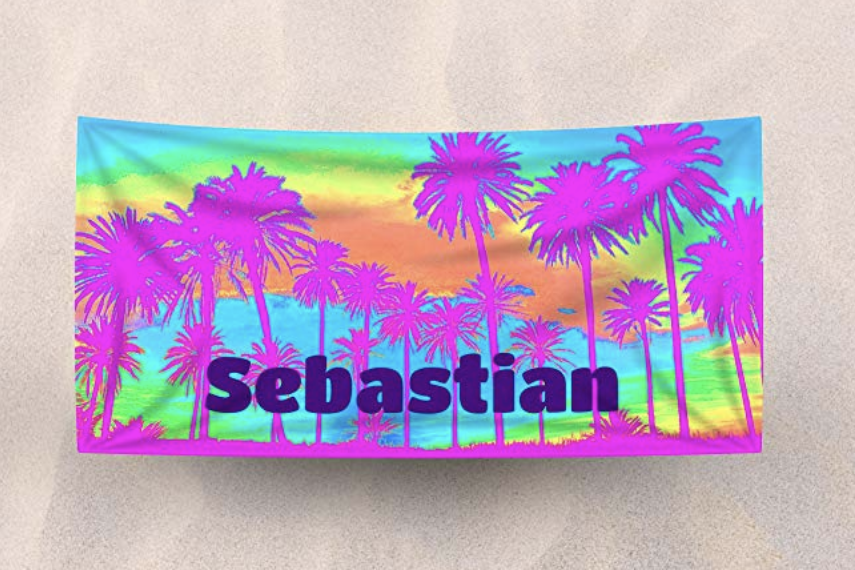 brightly colored beach towel