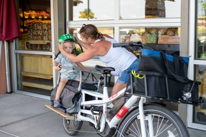 Hauling groceries and kids on the Yuba Spicy Curry Electric Cargo Bike