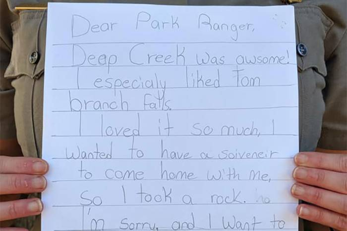 Little Girl's 'Apology' Note for Taking Rock From National Park Will Brighten Your Day