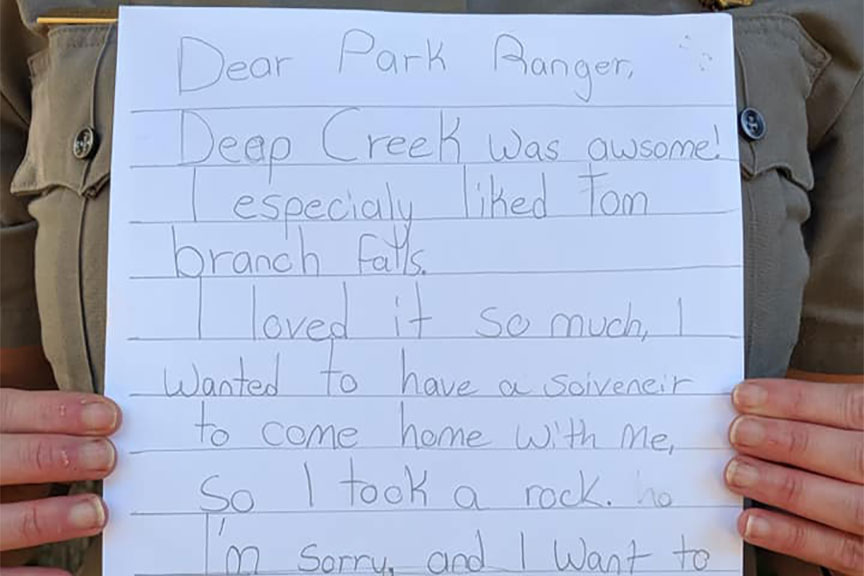 Little Girl's 'Apology' Note for Taking Rock from National Park Will Brighten Your Day | GearJunkie