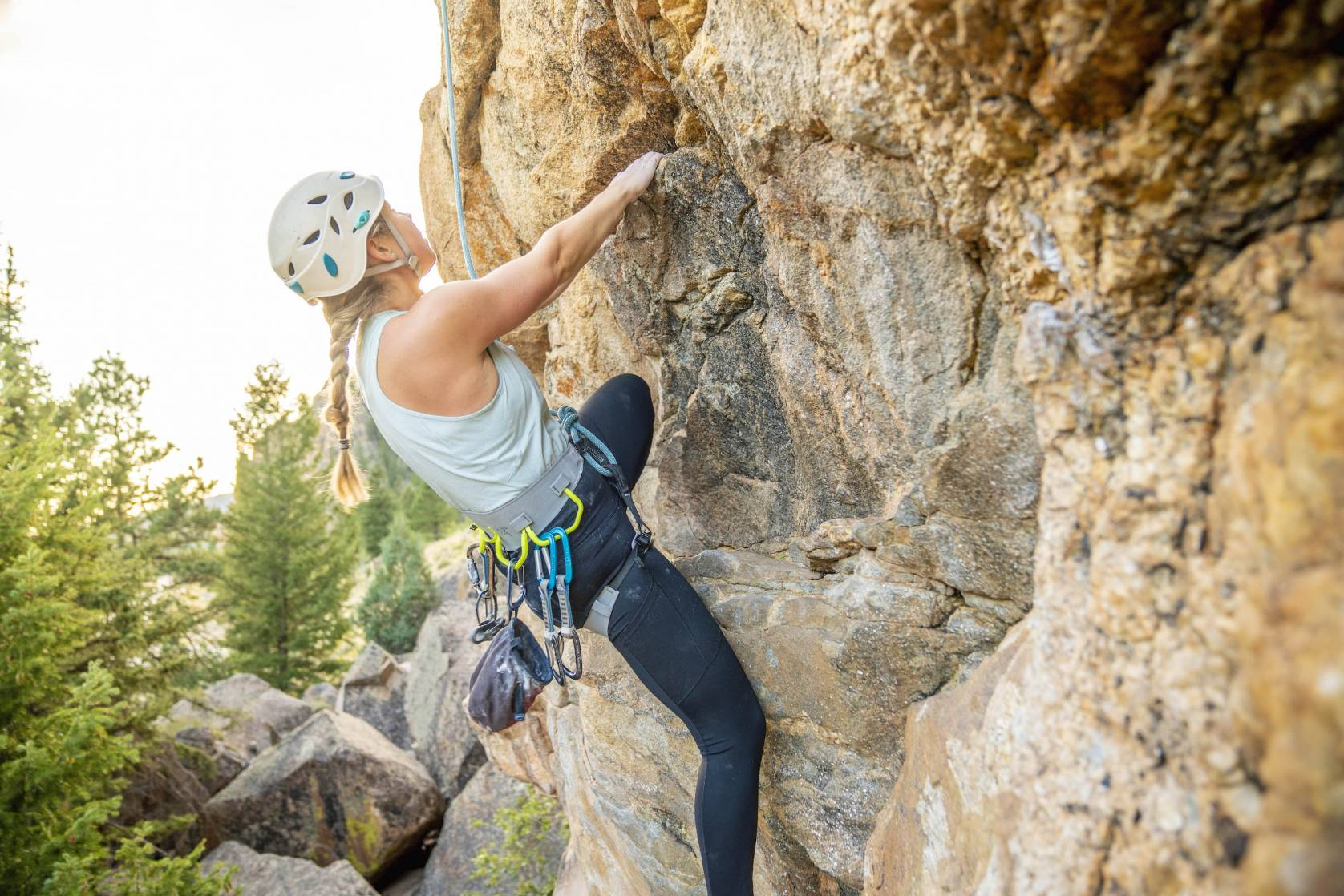 rock climbing shoes and harness for women