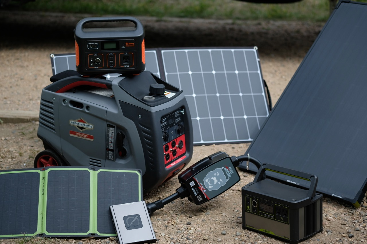 a variety of power stations and solar accessories for remote work