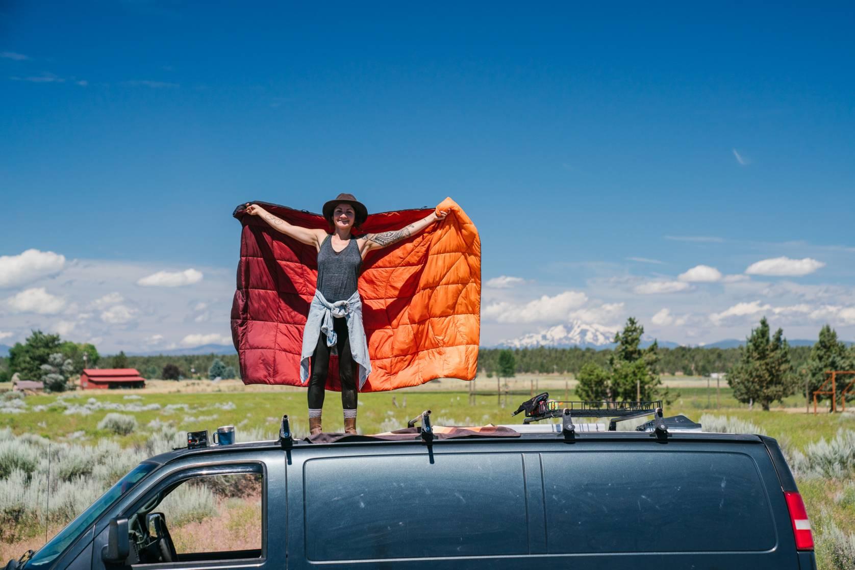 Rumpl Nanoloft Puffy Blanket Mountain on Van