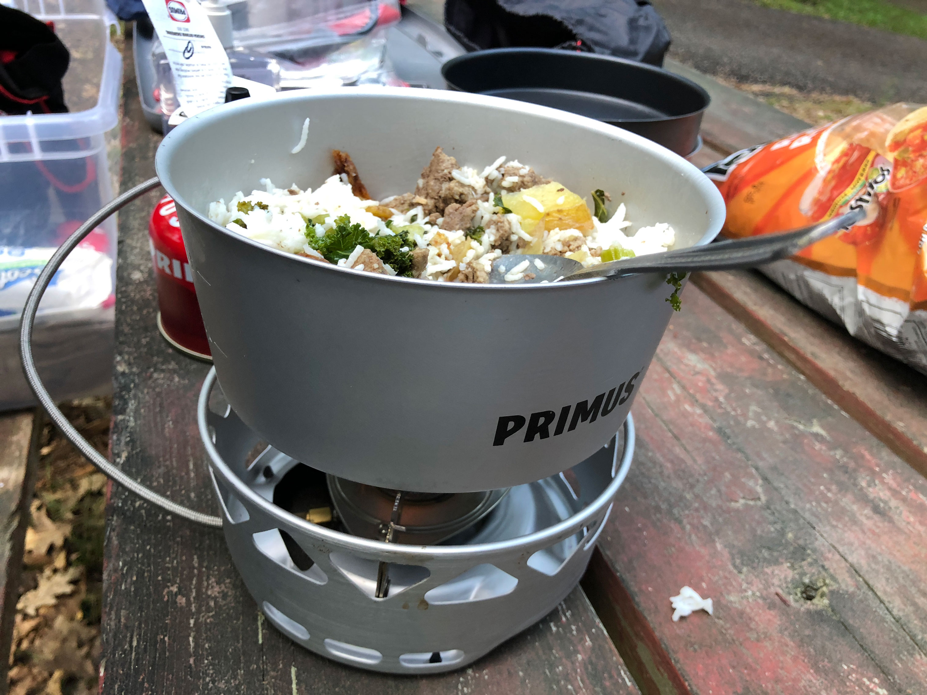 the Primus Primetech Stove camp cooking