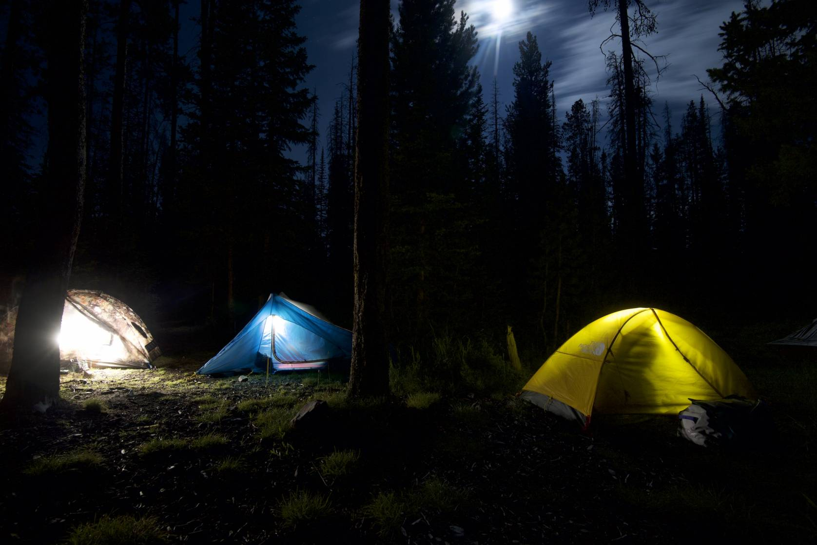 Backcountry tents at night