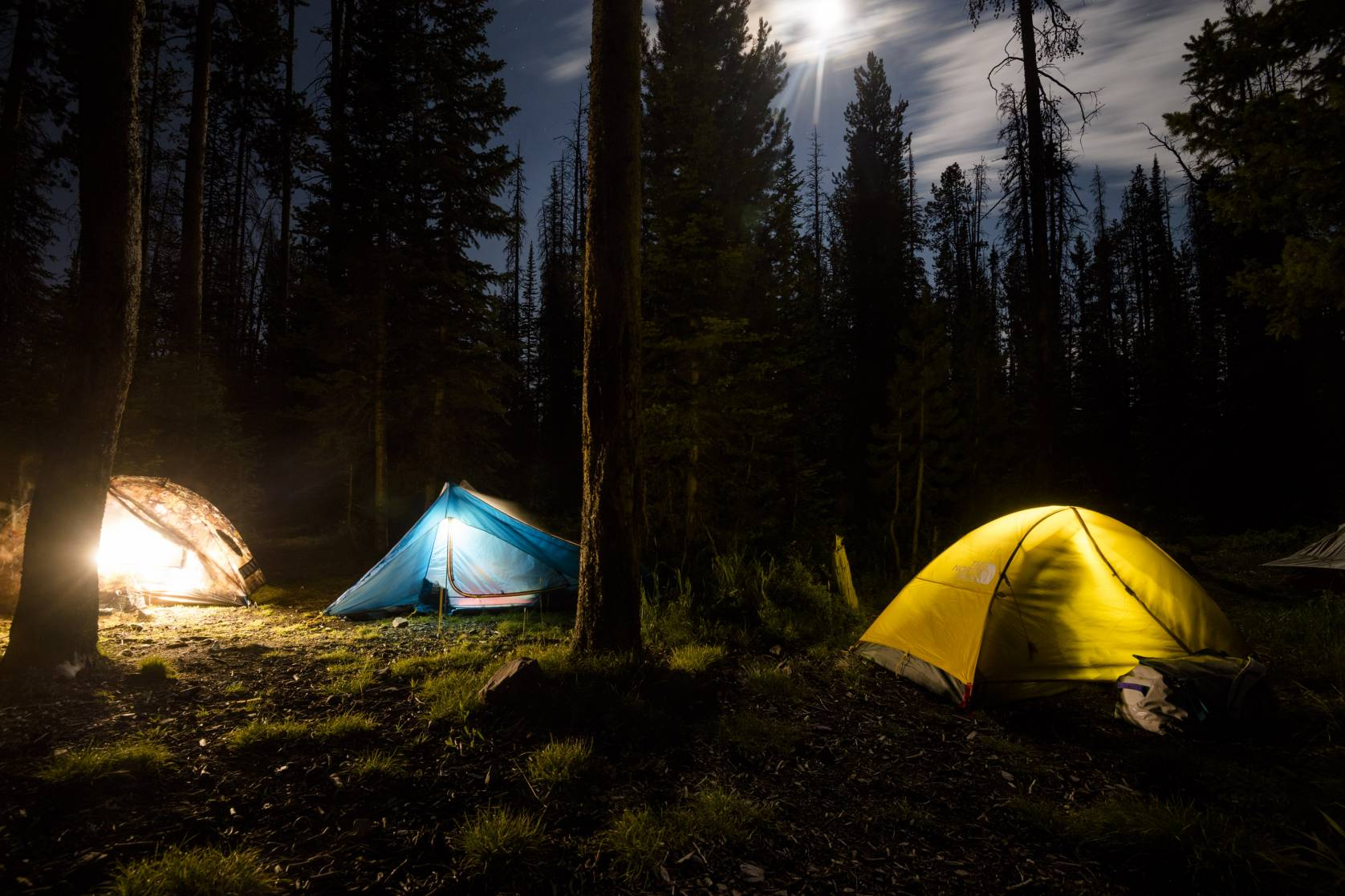 Camping Tent Night Forest Wilderness Backcountry