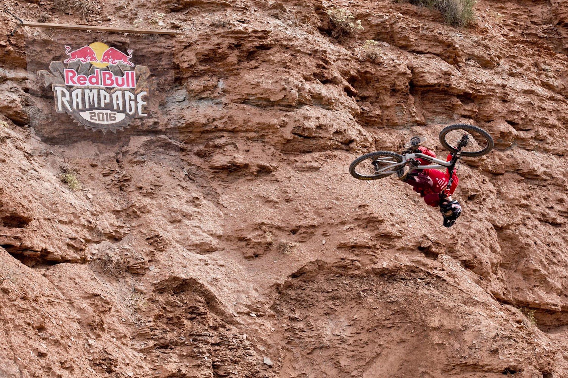 Brandon Semenuk flips at Red Bull Rampage