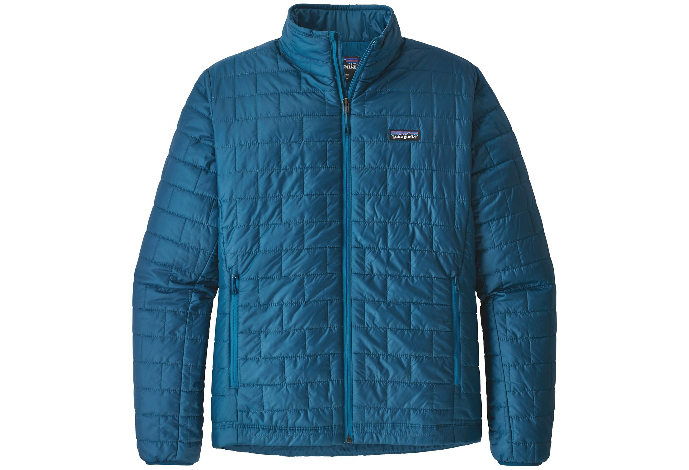 Patagonia Nano Puff mens blue jacket against white background