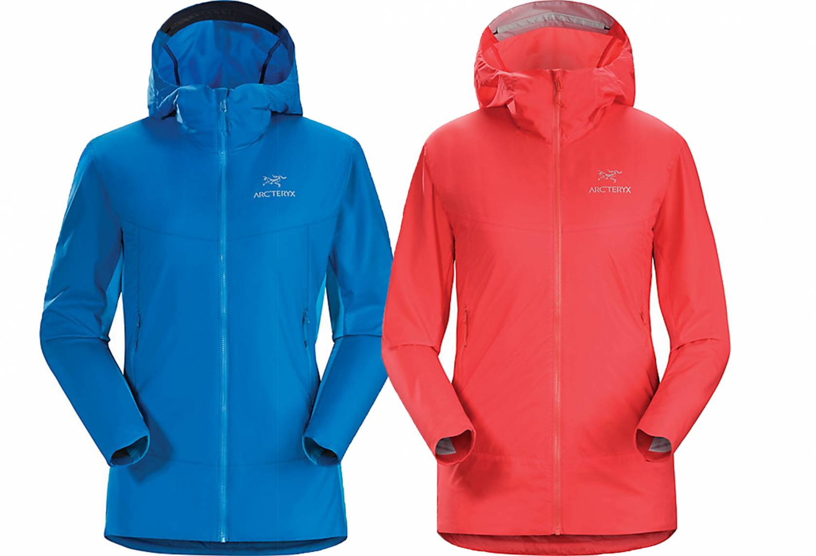 Arc'teryx women's Atom SL Hoody in red and blue with hoods up against white background