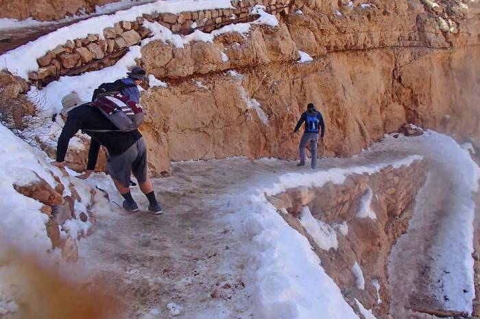 Terrifying Photo Shows Hikers Sliding Down Icy Grand Canyon Trail