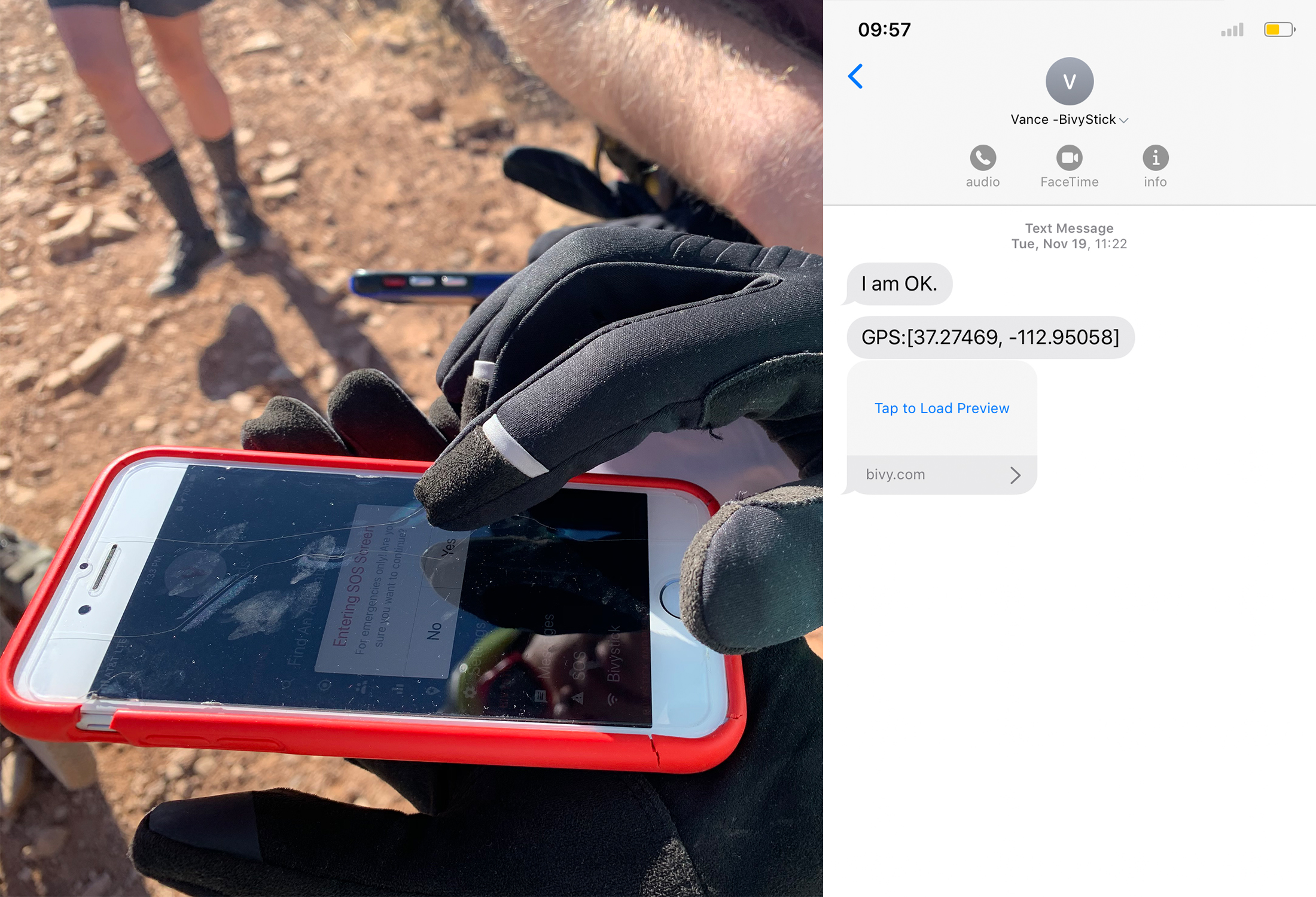 Bivystick app and phone messaging