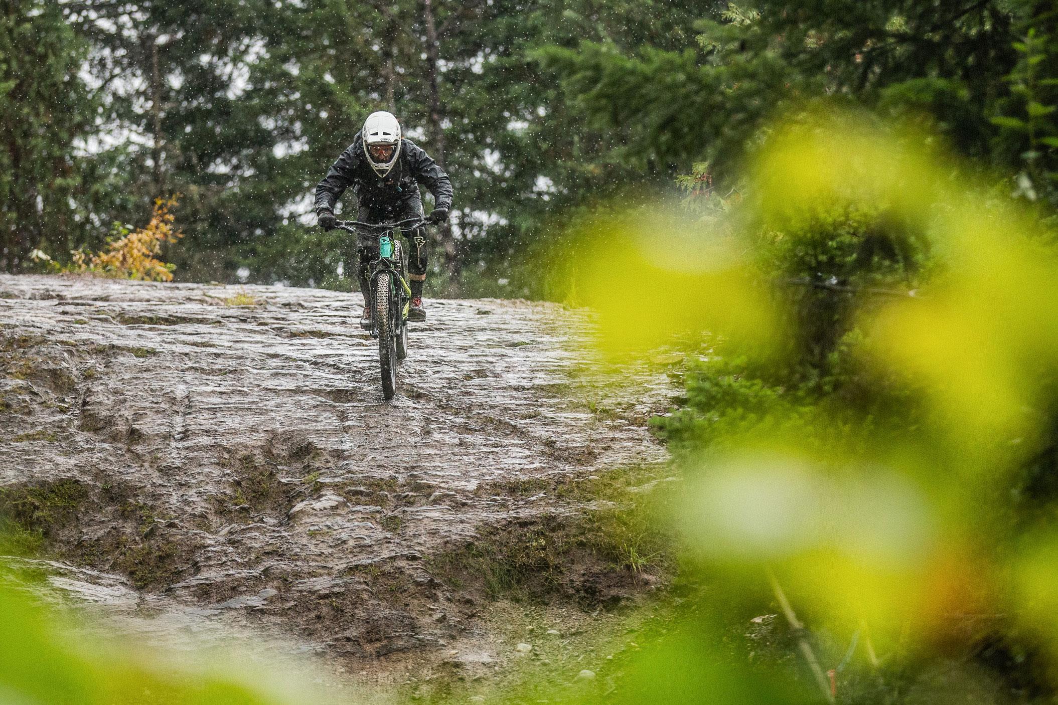 Mountain bike rain wet rock