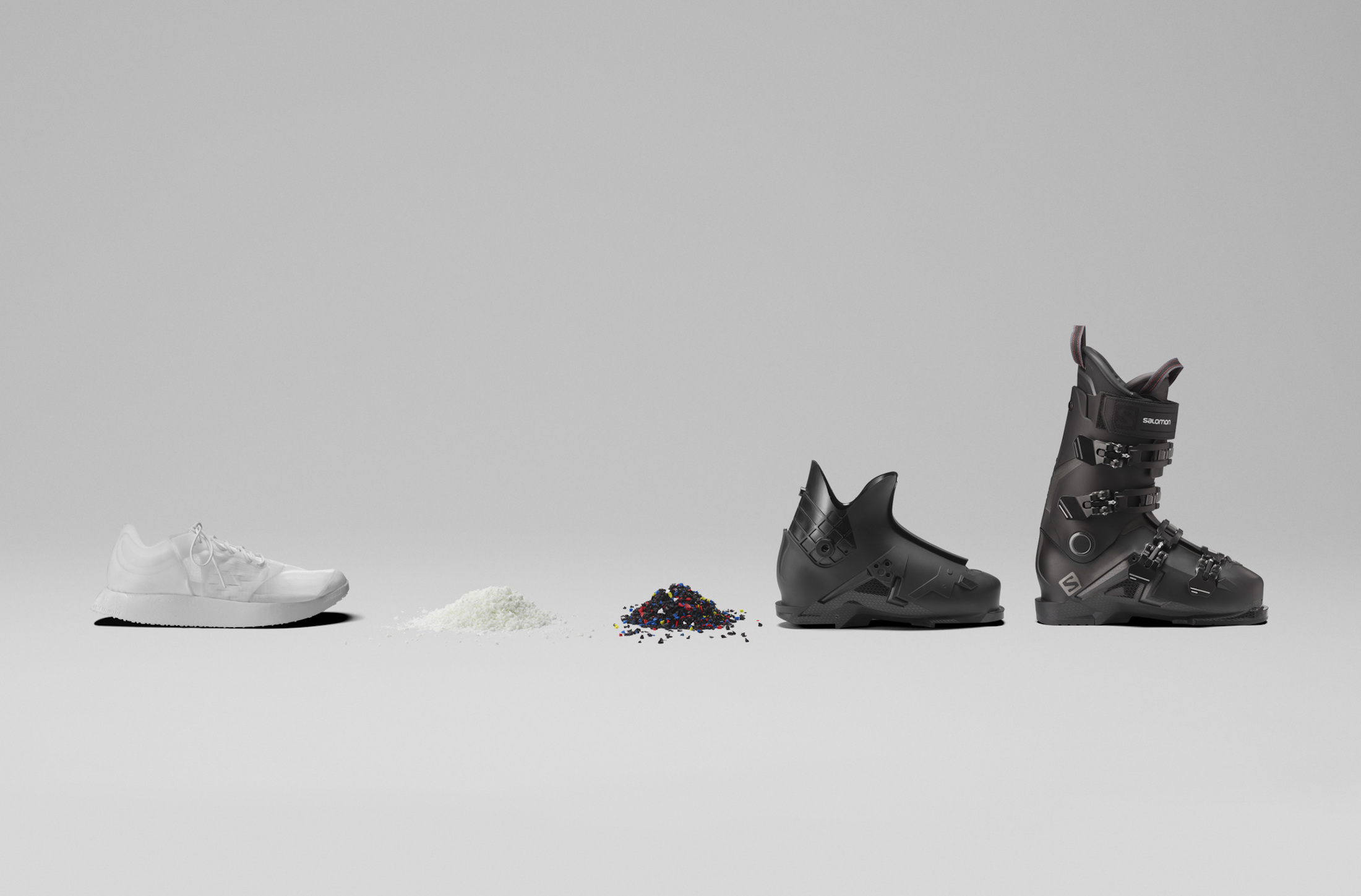 evolution of Salomon Concept shoe: from undyed shoe to recycled pellets to recycled plastic made into a ski boot