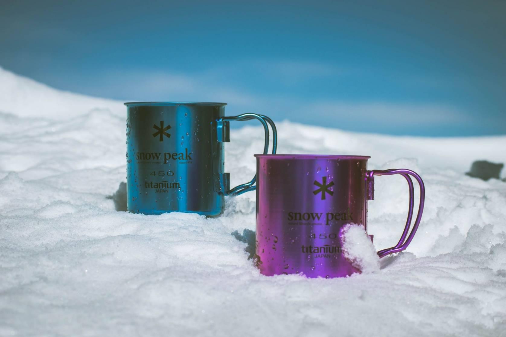 Snow Peak branded mugs